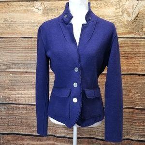 Eileen FIsher Bluish Purple Merino Wool Jacket Sm